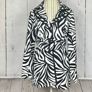 Women's Zebra print midi button up jacket size L